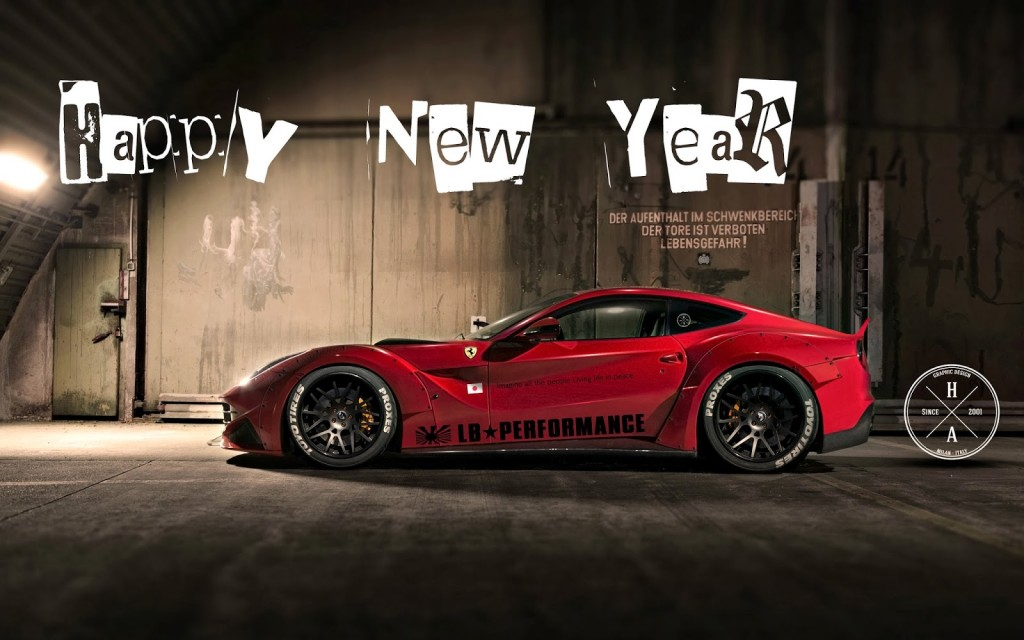 Happy New Year With Sports cars HD Wallpaper