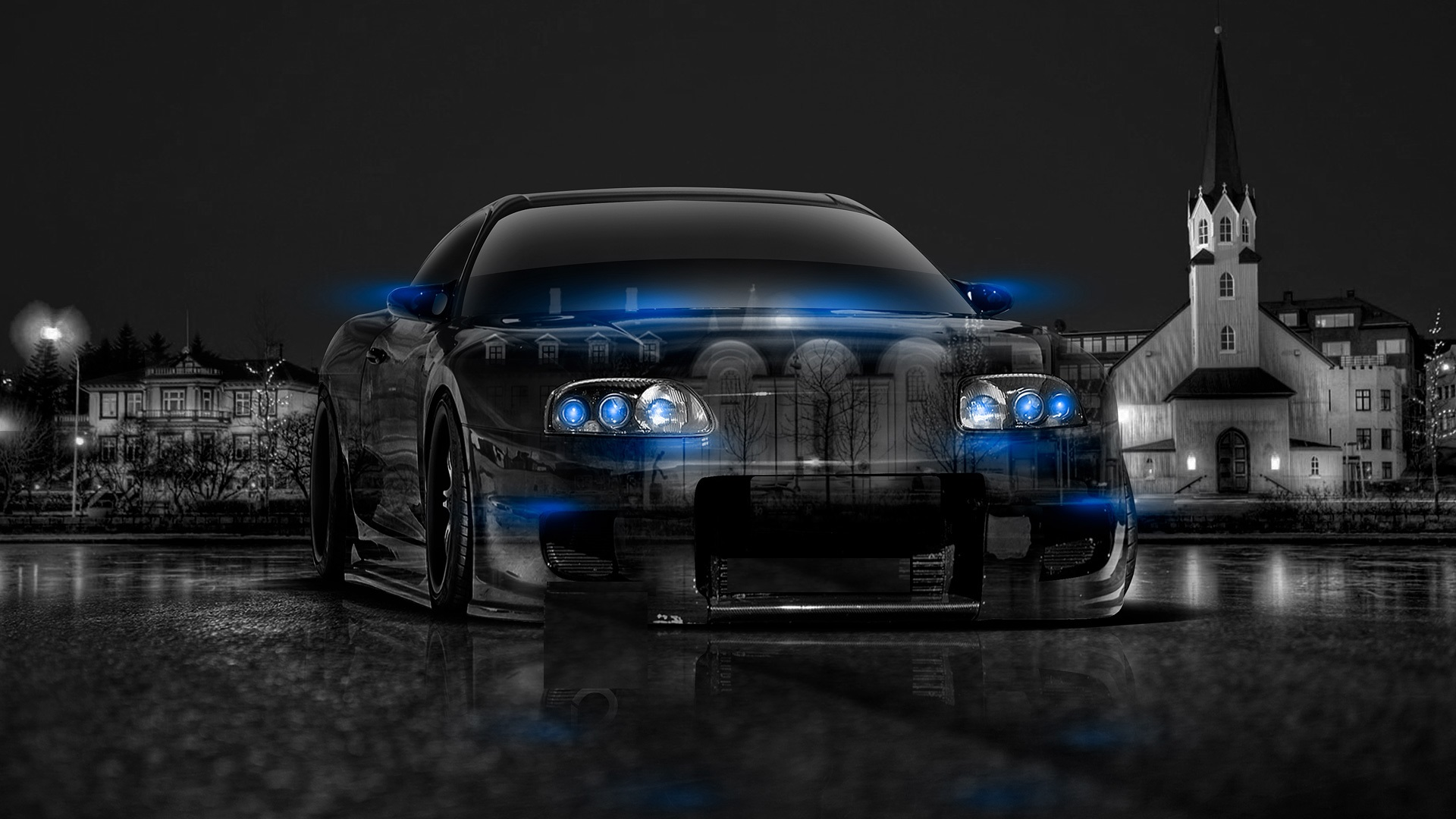 Bon Abstract Black Blue Toyota Supra HD Wallpaper