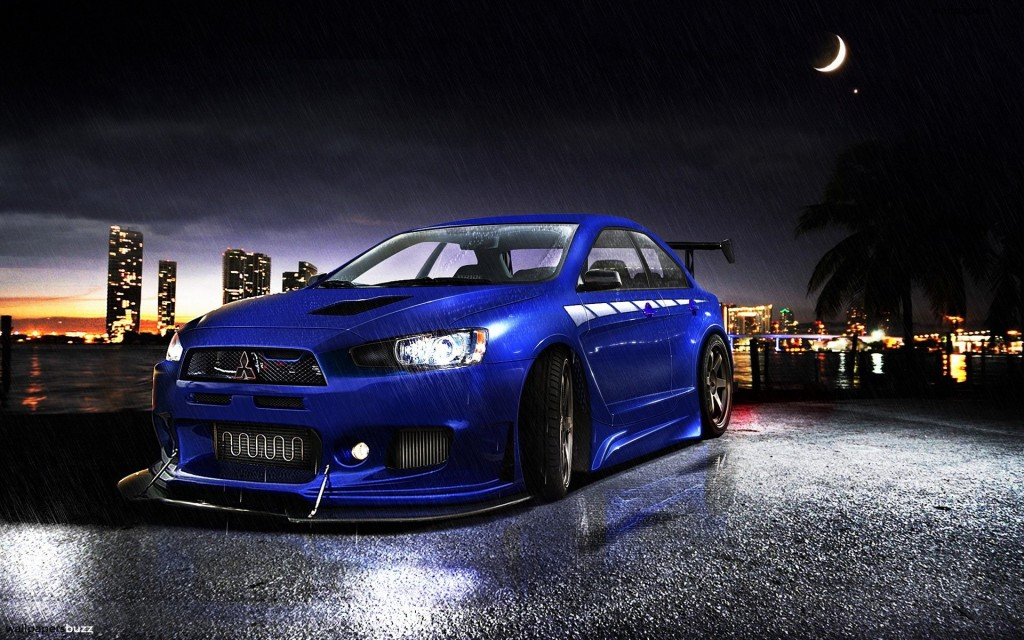 Blue Mitsubishi Lancer Evolution X HD Wallpaper