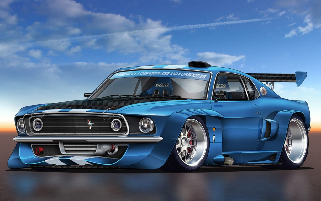 Blue Modified Mustang GT HD Wallpaper