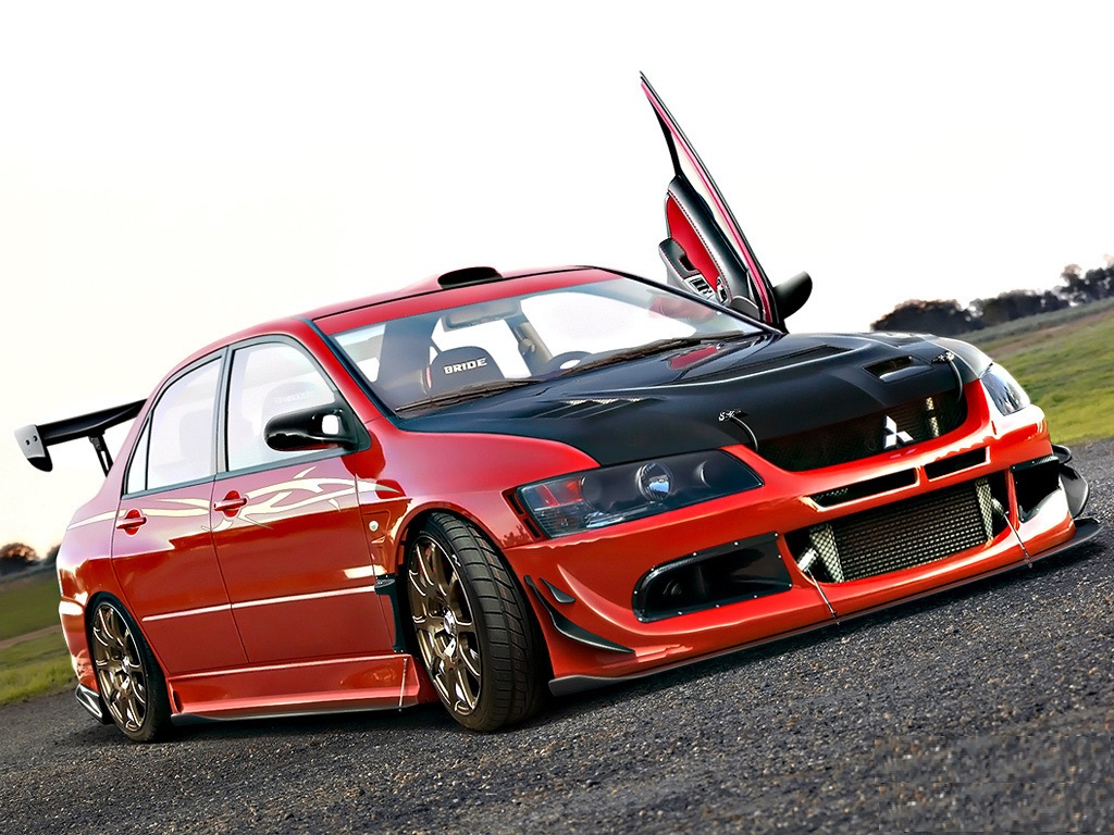 Red Mitsubishi Lancer HD Wallpaper