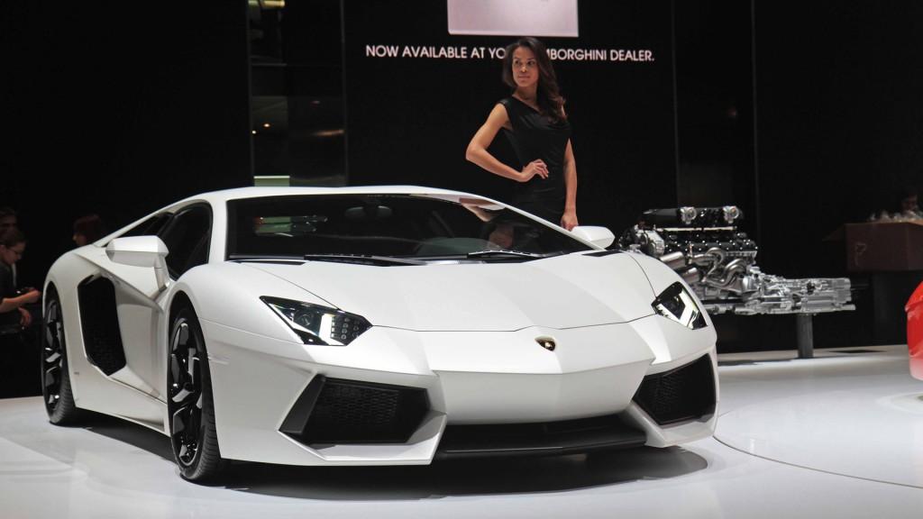 White Lamborghini Aventador With Girl HD Wallpaper