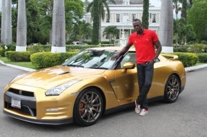 2014 Golden Nissan GTR And Usain Bolt