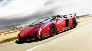 Red Lamborghini Veneno 2014 HD Wallpaper