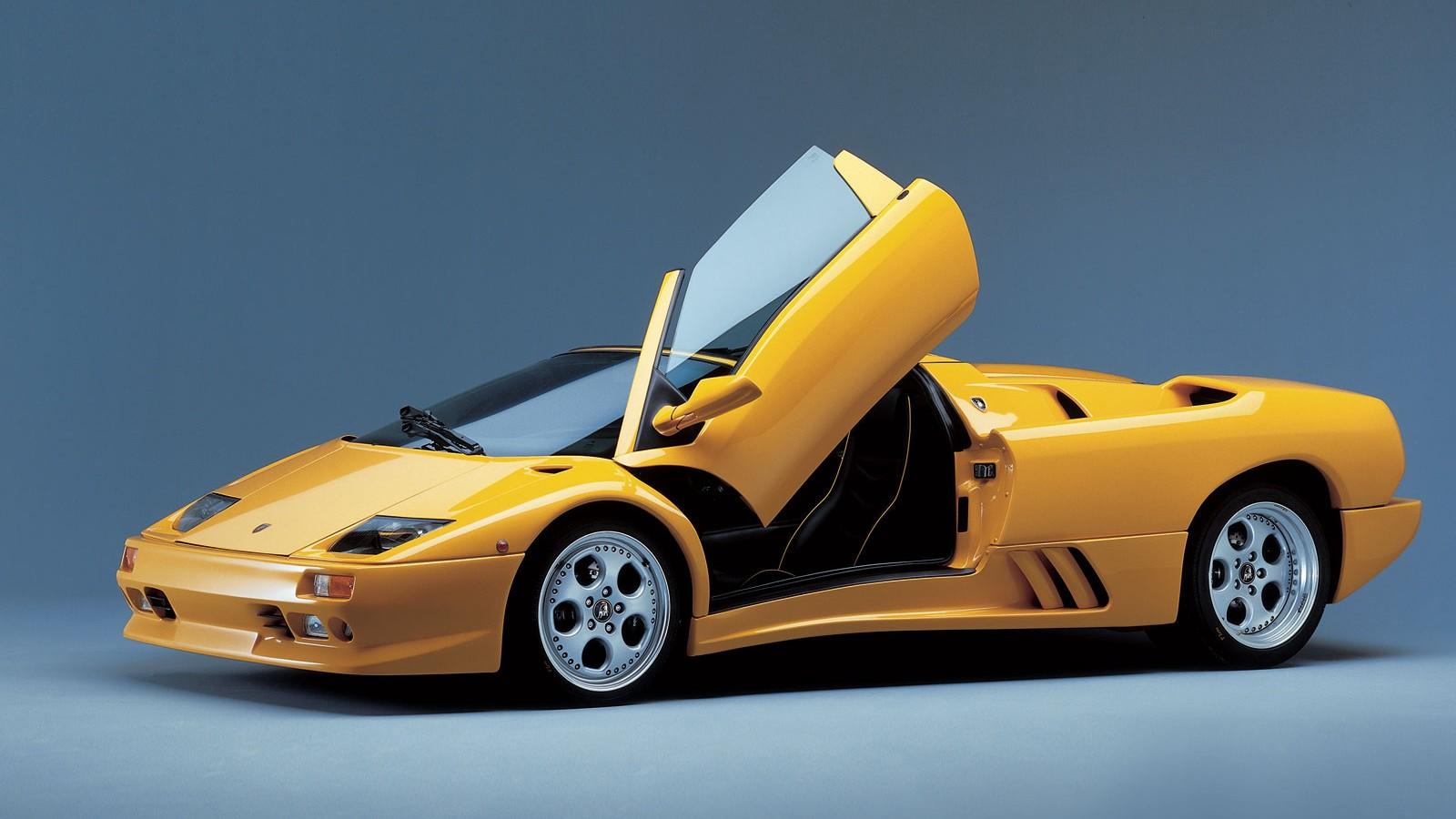 Yellow Lamborghini Car With Doors Open