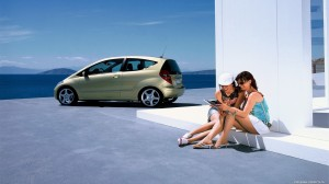 Beautiful View Sea And Girl With New Car Wallpaper