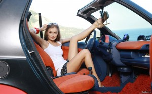 Car And Beautiful Girl Romantic looks Wallpaper