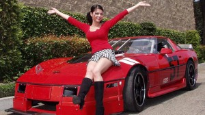 Exotic Red Car And Girl In Red Dress Wallpapers
