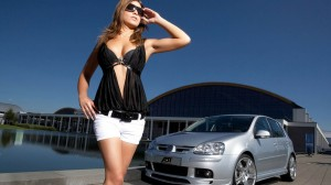 Summer Car And Girl Fit HD Wallpaper