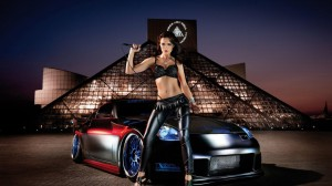 download Widescreen Car With Model Wallpapers