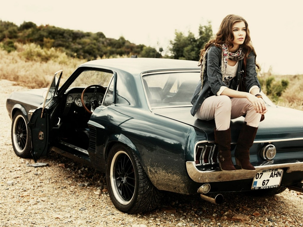 download Girl Sitting On Muscle Car 2014-15 HD Wallpapers
