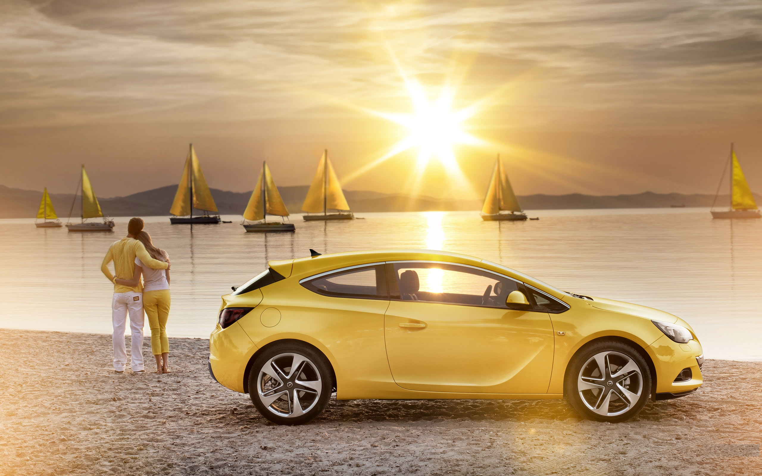 download Yellow Sea Boats And Yellow Sports Car-2014