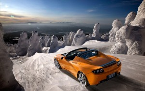 Download Tesla Roadster SnowTrack Hd Wallpaper