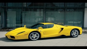 Yellow Ferrari sports car Wallpaper
