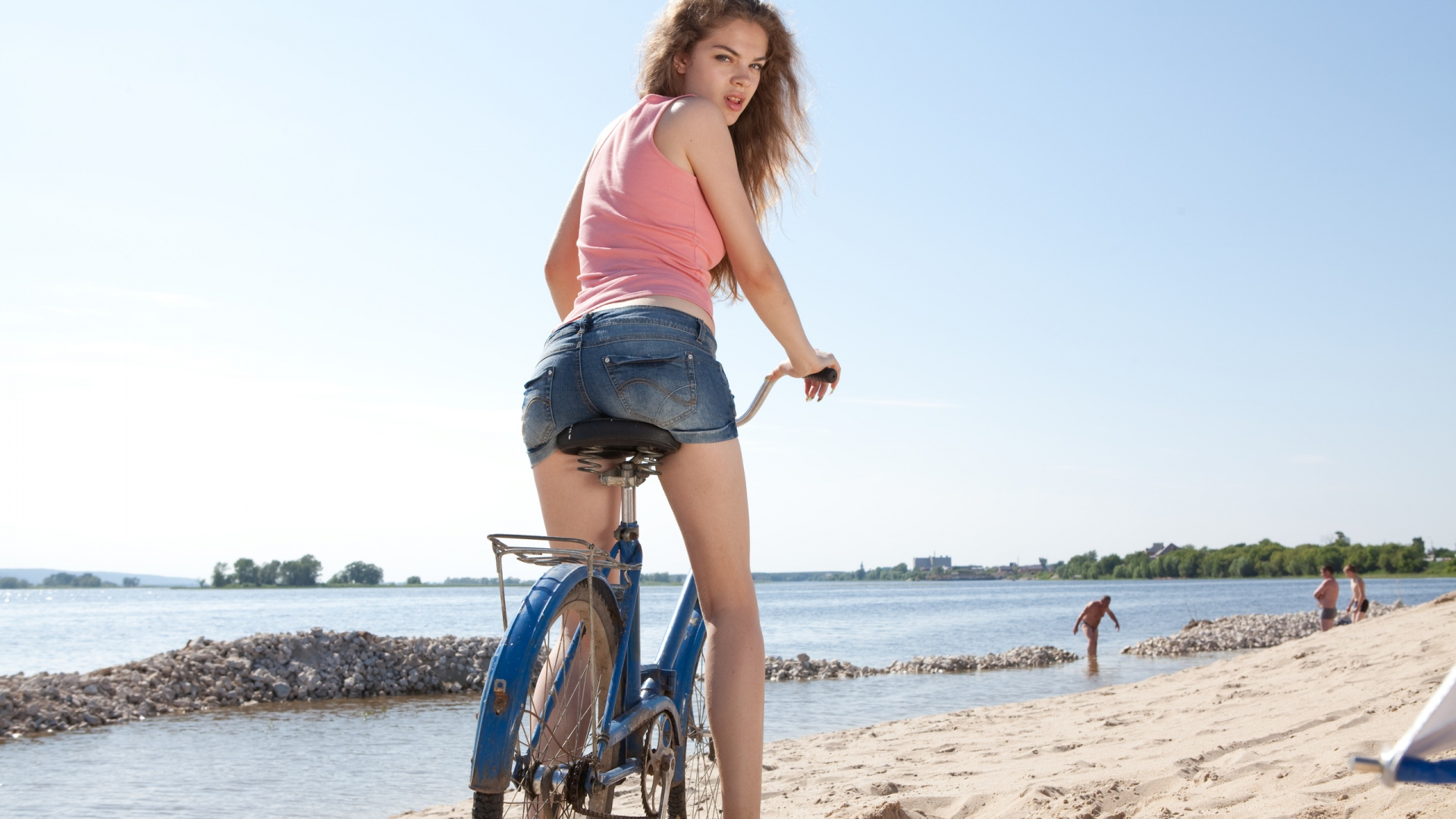 Girl Beach And Mountain Bike Wallpapers